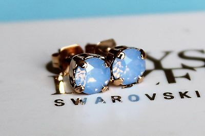 Rose Gold Plated Stud Earrings with Air Blue Opal Swarovski Crystal Elements