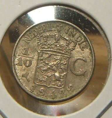 1942-S~~Netherlands~~1/10 Gulden Silver~~Scarce~~Au Beauty