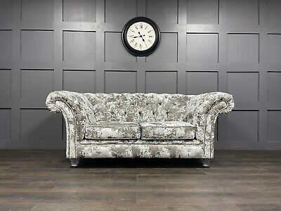 Fabric Chesterfield Sofa Silver Premium Crushed Velvet Avaliable In 52 Colours
