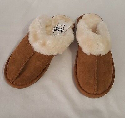 New Womens Genuine Suede Chestnut Chandra Slippers Faux Fur Lining Shoes Size 9