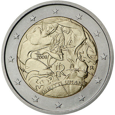 "2008 Italy 2 Euro UNC Coin ""Universal Declaration of Human Rights 60 Years"""