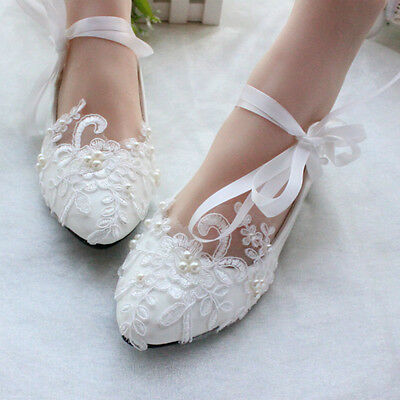 heel white ivory lace crystal pearls Wedding shoes pumps bride size