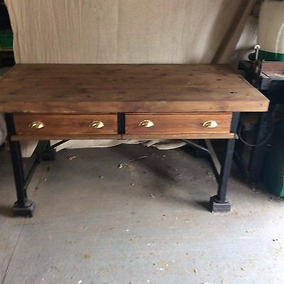 Victorian Cast Iron-Framed Engineer's Workbench