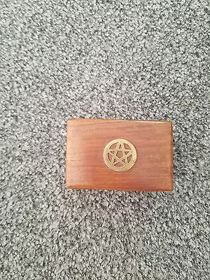 Small Wooden Box with Inlaid Pentagram