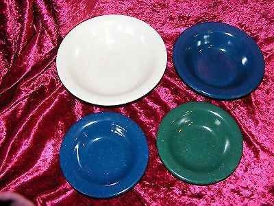 G.E.T. Melamine bowls Lot of 4 speckled blue green and white