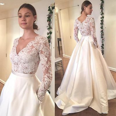 New White/Ivory pocket Wedding Dress Bridal Gown Custom Size2 4 6 8 10 12 14 16+