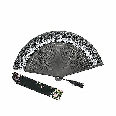 "OMyTea ""Lace Pattern"" 8.27""(21cm) Women Hand Held Folding Fans with Bamboo - NEW"