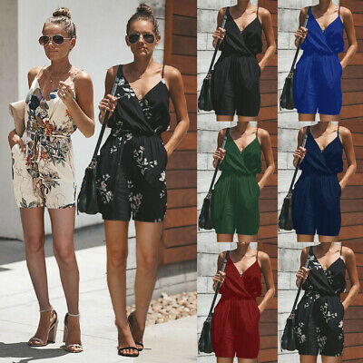 UK HOT Womens Fashion Playsuit Ladies Jumpsuit Summer Beach Mini Shorts Dress