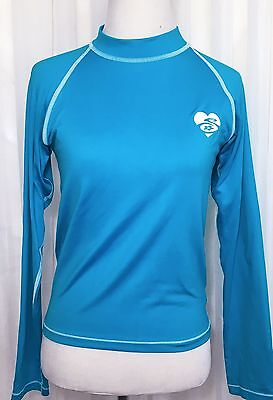 Squalo UV Protective Neon Blue Long Sleeve Rash Guard Kid's Swim Top Size M