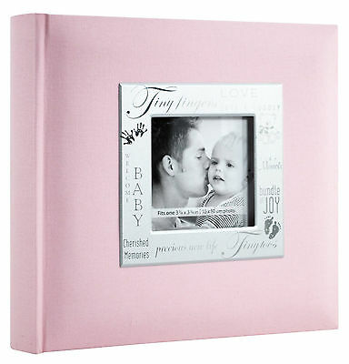 "Baby Photo Album 200 Photos 4x6"" Girl Scrapbook Pocket 9x9"" Cover Opening Pink"