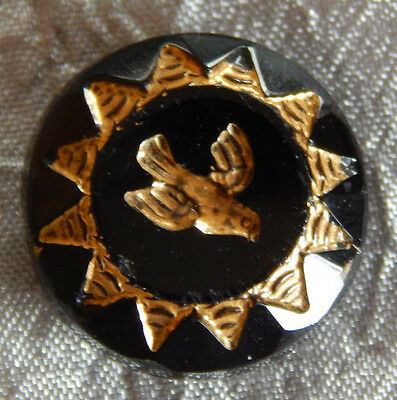Antique Vintage Black Glass Button Gold Luster Bird #107-B