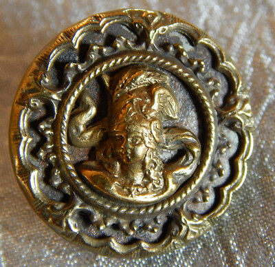 Antique Vintage Brass Picture Button 3-D Lady Head Cameo #013-B