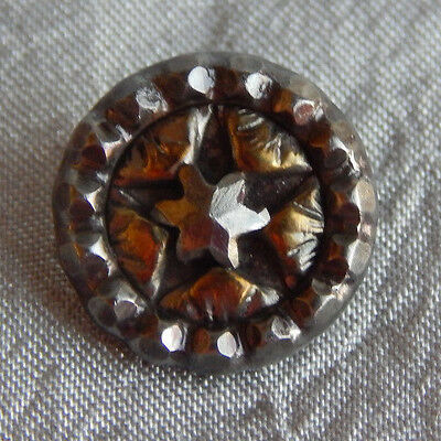 Antique Vintage Brass & Steel Button Cut Steel Star #934-A