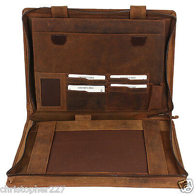 Mens Leather Business Meeting Documents Portfolio Folder Case Card Pen Holder
