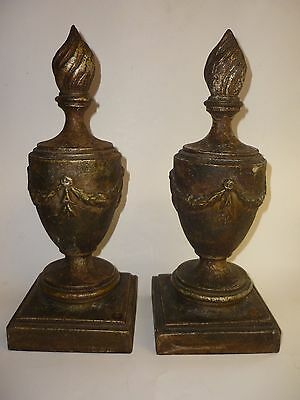 Pair of Matched Vintage Antique Cast Iron Stairway Banister Tops Newels c1919