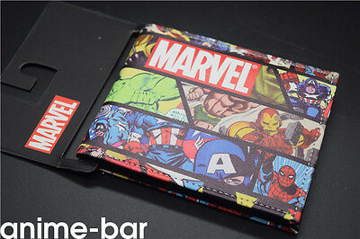 Marvel Comics Superheros Men Wallet Color Print Short Bifold Purse Card Holder