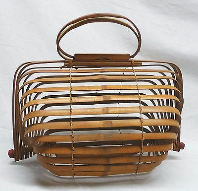 1950's Japanese Folding Bamboo Purse As Offered