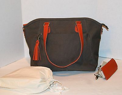 Gorgeous and Functional Gray Canvas Diaper / Baby Bag / Tote w/ Changing Pad