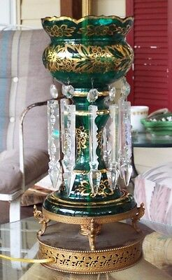 Antique Ornate bohemian Emerald Green 24k gold Gilded Electric Lamps Pair
