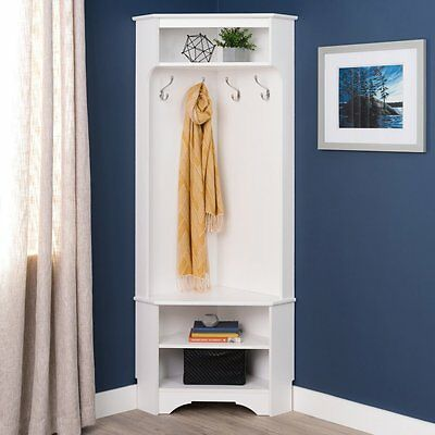 Coat Rack Corner Hall Tree Hat Stand Cabinet Space Two Shoe Storage Shelf Hooks