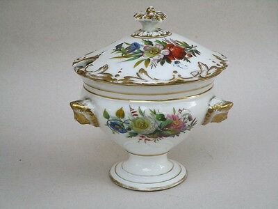PORCELAINE  DE PARIS  CONFITURIER  SUCRIER  DECOR PEINT MAIN EPOQUE 19ème SIECLE