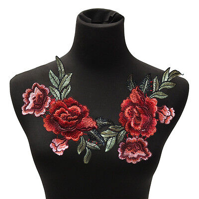 2Pcs/Set Rose Flower Patch Floral Embroidered Applique Patches Sew on For DIY GU