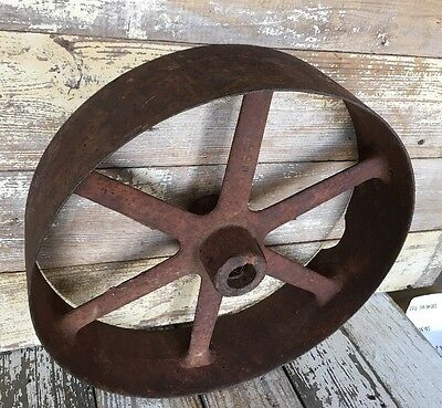 Large Vintage Cast Iron Metal Pulley Gear Wheel Industrial Steampunk Base 16""