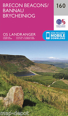 BRECON BEACONS LANDRANGER MAP 160 - Ordnance Survey - OS - NEW 2016 + DOWNLOAD