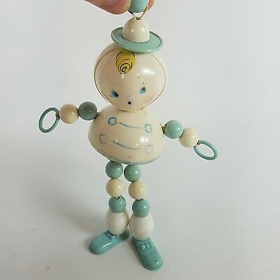 Vintage Baby Toy Rattle Boy Beaded Rolly Polly White Blue