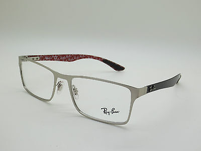 Authentic RAY BAN RB 8415 2538 Silver Carbon Fiber 53mm Rx Eyeglasses