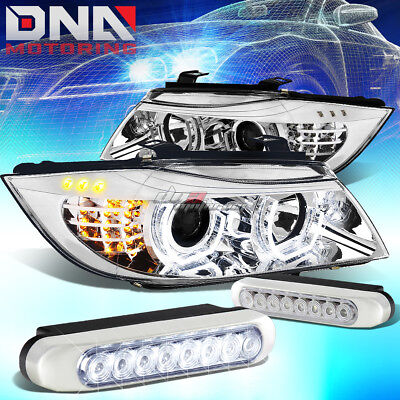 Chrome Halo Projector Headlight+Corner+8 Led Grill Fog Lamps Fit 09-12 Bmw E90