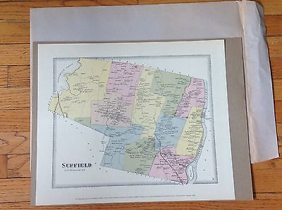 SUFFIELD CONNECTICUT CT. MAP 1968 Reproduction of 1869 Original - First Nat Bank