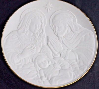 """LENOX 1993 NATIVITY Vignettes THE HOLY FAMILY Christmas 8"""" PLATE Bisque USA"""