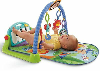Fisher-Price Kick and Play Piano Gym Baby Activity Playmat Toy in Blue/Green