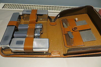 VINTAGE 1950s GENTS LEATHER CASED CONNOISSEUR GROOMING TRAVEL SET FREE UK P&P
