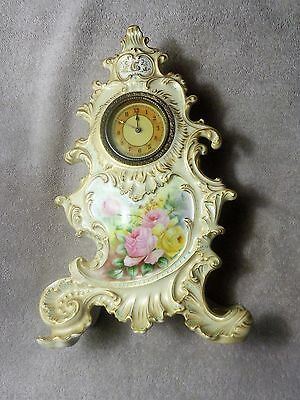 Rare Antique Hand Painted French Limoges Porcelain Clock