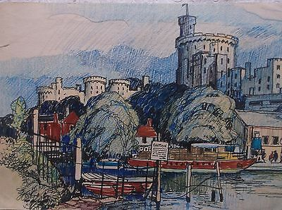 COLOURED GRAPHITE DRAWING by FREDERICK GEORGE WILLS 1901-1993 R.I.WINDSOR CASTLE