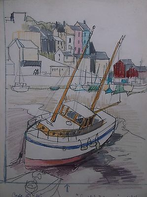 COLOURED GRAPHITE DRAWING by FREDERICK GEORGE WILLS 1901-1993 R.I. MEVAGISSEY