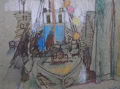 COLOURED GRAPHITE DRAWING by FREDERICK GEORGE WILLS 1901-1993 R.I. FISHING BOAT