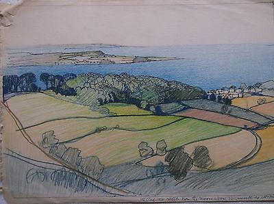 COLOURED GRAPHITE DRAWING by FREDERICK GEORGE WILLS 1901-1993 R.I. TEIGNMOUTH
