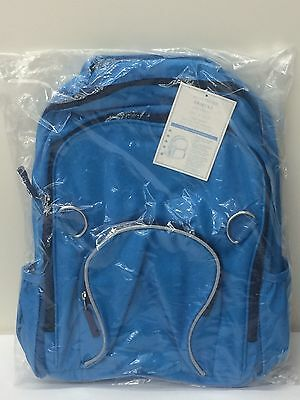 POTTERY BARN KIDS Fairfax Solid LARGE Backpack, BLUE/NAVY ZIPPERS, NEW