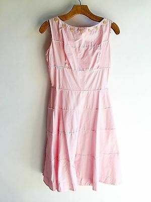 Vintage Pink Dress Ric Rack Button Trim 1950s Fit & Flare Rockabilly Swing