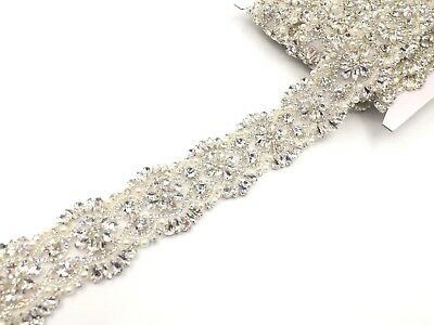 17'' Bridal Belt Rhinestone Wedding Sash Belt  Dresses Trim Reduced To Clear