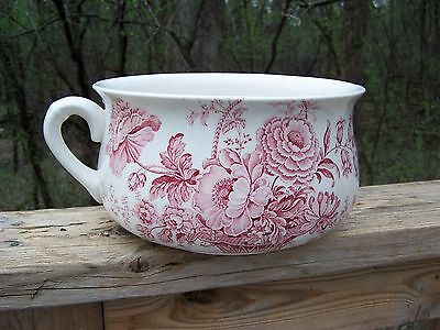 Royal Crownford Staffordshire England Ironstone Chamber Pot Charlotte Red White