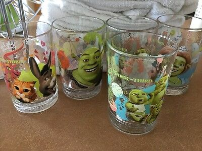 Shrek the Third McDonald's Collector Set of 5 Drinking Glass/Tumblers Set~2007