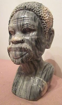 antique African heavy hand carved stone figural bust man head sculpture statue