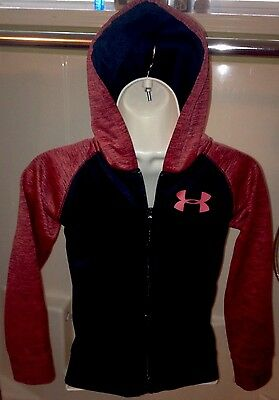 Under Armour Kids Size 7 Full Zip Hoodie Burgundy And Black Excellent Supercool!