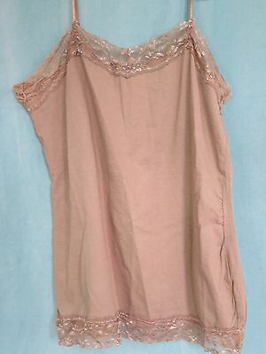 Women's Sz LARGE JW Taupe Lace Stretch Cami Camisole Tank Top Adj Shoulder Strap