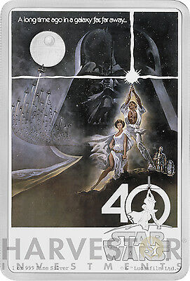 2017 Star Wars 40Th Anniversary Poster Coin - 1 Oz. Silver Coin - With Ogp & Coa