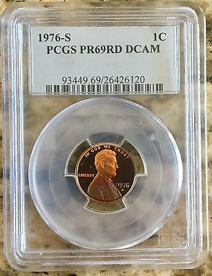 1976-S Lincoln Penny PCGS PR69RD Deep Cameo*Gorgeous Rainbow Toning*